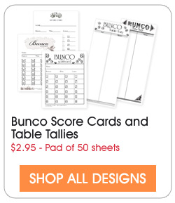 Buy Bunco score cards and table tallies