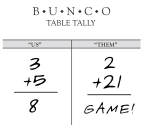 Example of Bunco table tally