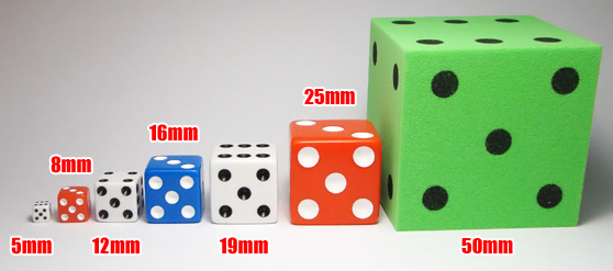 Dice Sizes Explained - 8mm f28535c7b9cb7